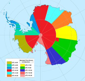 Antarctic Time Zone Map