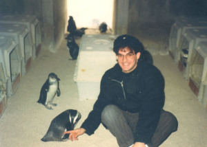 Eric with the penguins of the Baltimore Zoo back in the day.