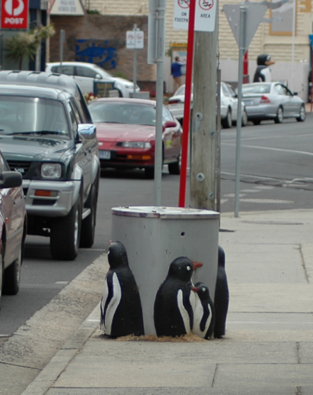 A public trash can in downtown Penguin