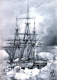 L'Astrolabe breaking water on an ice floe 6 February 1838